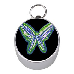 Green neon butterfly Mini Silver Compasses