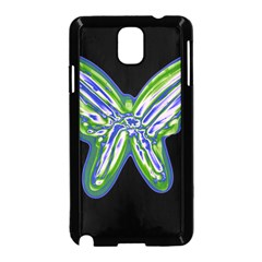 Green neon butterfly Samsung Galaxy Note 3 Neo Hardshell Case (Black)