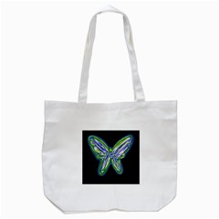 Green neon butterfly Tote Bag (White)