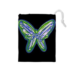 Green neon butterfly Drawstring Pouches (Medium)
