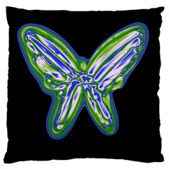 Green neon butterfly Standard Flano Cushion Case (One Side)