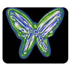 Green neon butterfly Double Sided Flano Blanket (Small)