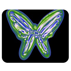 Green neon butterfly Double Sided Flano Blanket (Medium)
