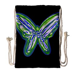 Green neon butterfly Drawstring Bag (Large)