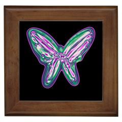 Neon butterfly Framed Tiles