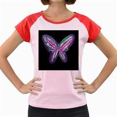 Neon butterfly Women s Cap Sleeve T-Shirt