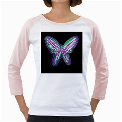 Neon butterfly Girly Raglans