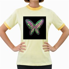 Neon butterfly Women s Fitted Ringer T-Shirts