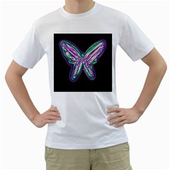 Neon butterfly Men s T-Shirt (White) (Two Sided)