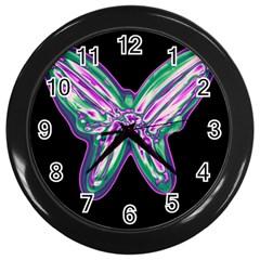 Neon butterfly Wall Clocks (Black)