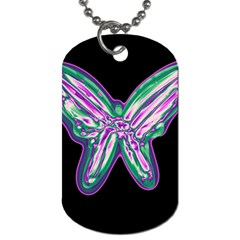 Neon butterfly Dog Tag (One Side)