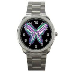 Neon butterfly Sport Metal Watch
