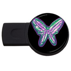 Neon butterfly USB Flash Drive Round (4 GB)