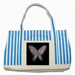 Neon butterfly Striped Blue Tote Bag