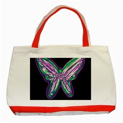 Neon butterfly Classic Tote Bag (Red)