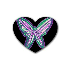 Neon butterfly Heart Coaster (4 pack)
