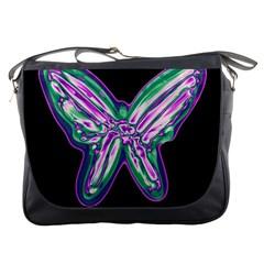 Neon butterfly Messenger Bags