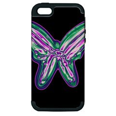 Neon butterfly Apple iPhone 5 Hardshell Case (PC+Silicone)