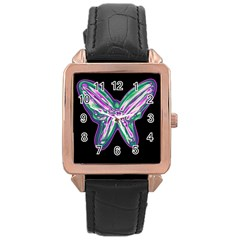 Neon butterfly Rose Gold Leather Watch