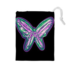 Neon butterfly Drawstring Pouches (Large)