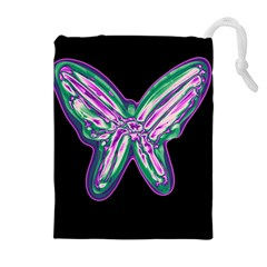 Neon butterfly Drawstring Pouches (Extra Large)