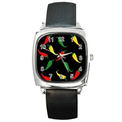 Chili peppers Square Metal Watch