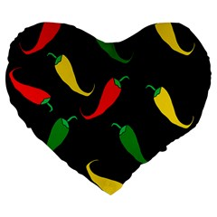 Chili peppers Large 19  Premium Heart Shape Cushions