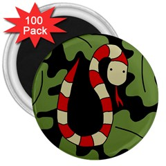 Red cartoon snake 3  Magnets (100 pack)