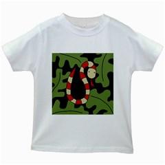 Red cartoon snake Kids White T-Shirts