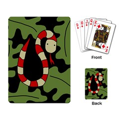 Red cartoon snake Playing Card