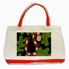 Red cartoon snake Classic Tote Bag (Red)