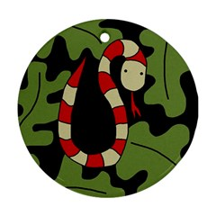 Red cartoon snake Round Ornament (Two Sides)