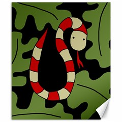 Red cartoon snake Canvas 8  x 10