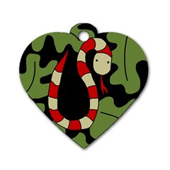 Red cartoon snake Dog Tag Heart (Two Sides)