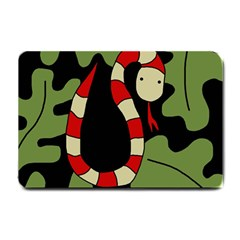 Red cartoon snake Small Doormat