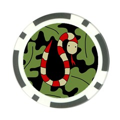 Red cartoon snake Poker Chip Card Guards
