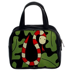 Red cartoon snake Classic Handbags (2 Sides)