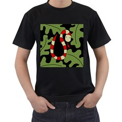 Red cartoon snake Men s T-Shirt (Black)