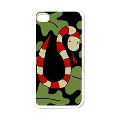 Red cartoon snake Apple iPhone 4 Case (White)