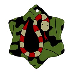 Red cartoon snake Snowflake Ornament (2-Side)