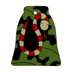 Red cartoon snake Bell Ornament (2 Sides)