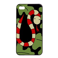Red cartoon snake Apple iPhone 4/4s Seamless Case (Black)