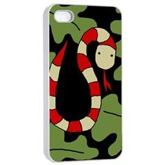 Red cartoon snake Apple iPhone 4/4s Seamless Case (White)