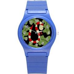 Red cartoon snake Round Plastic Sport Watch (S)
