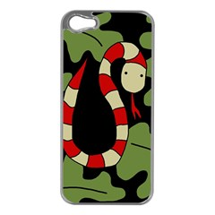Red cartoon snake Apple iPhone 5 Case (Silver)