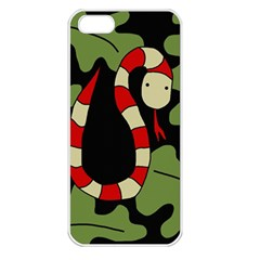 Red cartoon snake Apple iPhone 5 Seamless Case (White)