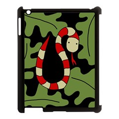Red cartoon snake Apple iPad 3/4 Case (Black)