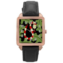 Red cartoon snake Rose Gold Leather Watch