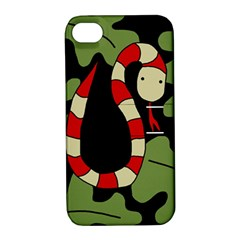 Red cartoon snake Apple iPhone 4/4S Hardshell Case with Stand