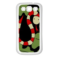Red cartoon snake Samsung Galaxy S3 Back Case (White)